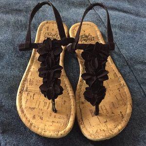 Black and cork sandals